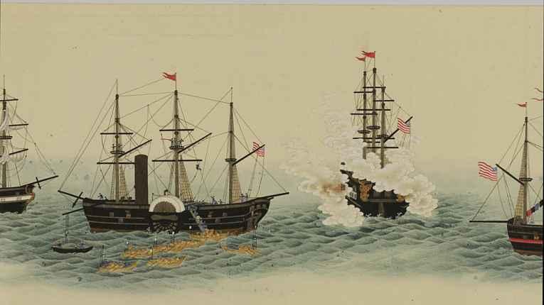 Comodoro Matthew Perry abre fogo contra Baía de Edo e inicia o desembarque de suas tropas estadunidenses
