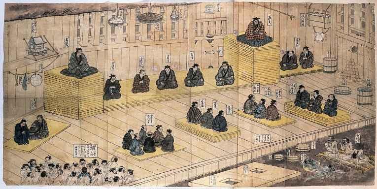 Pintura de prisão japonesa de 1850, período Edo