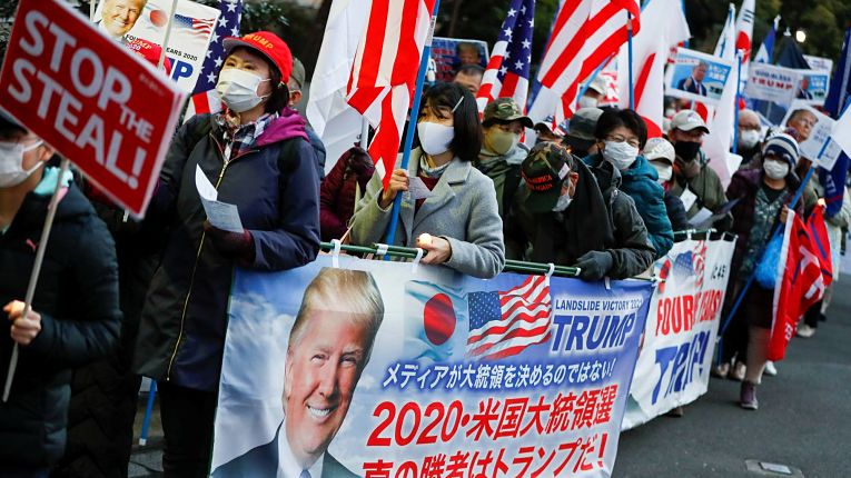 Apoiadores japoneses de Trump marcham em Tokyo