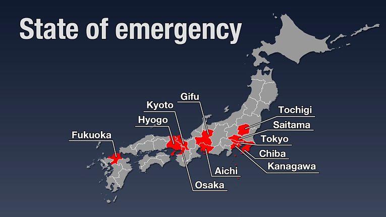 11 das 47 prefeituras em estado de emergência no Japão