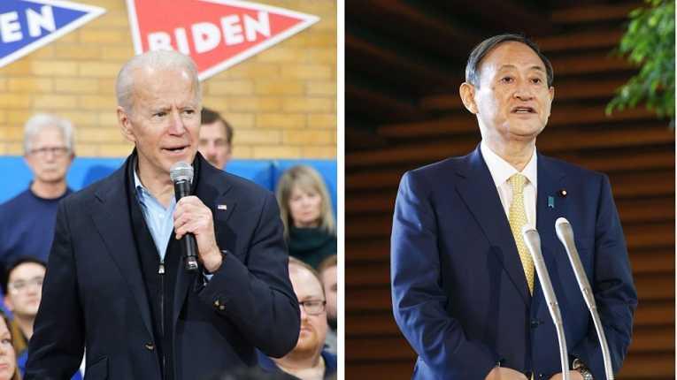 Joe Biden liga para Yoshihide Suga a meia noite