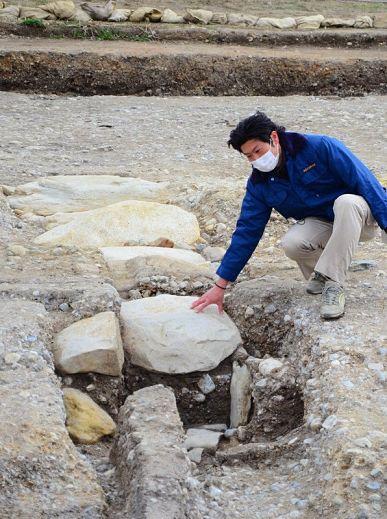 Dreno encontrado nas ruínas do Palácio Imperial de Nara - Heijō-kyū
