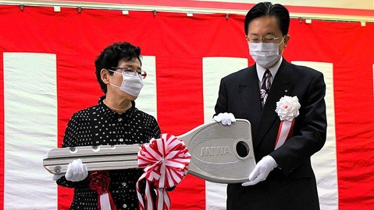 Entrega de apartamentos as vítimas do Grande Terremoto de Tohoku em 11 de fevereiro de 2021