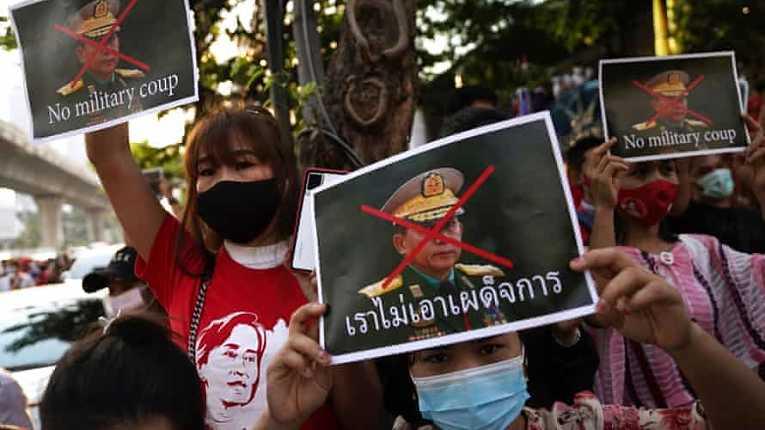 Protestos contra o golpe em Mianmar