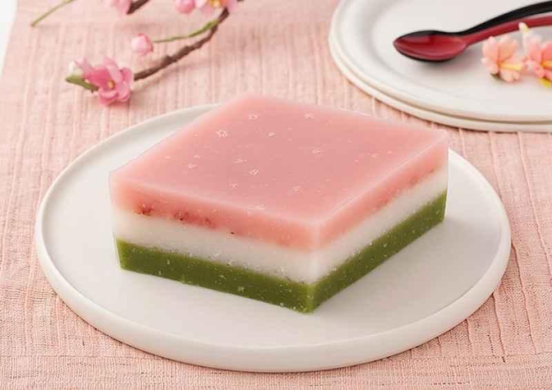 Hichimochi mochi em camadas retangular