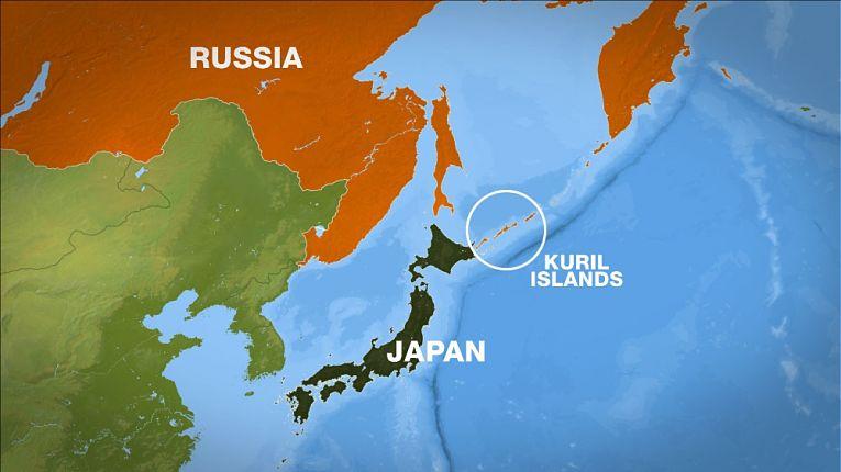Região das Ilhas Curil (Ilhas Habomai e Shikotan para os japoneses) disputada entre Japão e Rússia