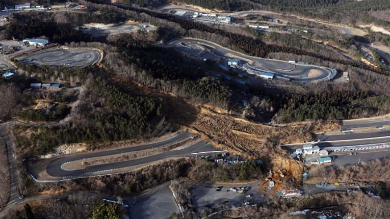 Deslizamento de terra causado pelo terremoto de MW7.3 em Fukushima em 13 fevereiro 2021