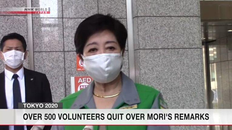 Emissora estatal NHK reporta que mais de 500 voluntários desistiram de participar dos Jogos Olímpicos de Tokyo após falas sexistas do presidente do Comitê Organizacional, Yoshiro Mori