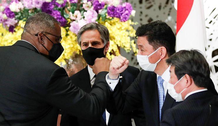 Primeiro encontro do alto escalão entre os governos estadunidense e japonês desde a posse do presidente dos EUA Joe Biden. Foto por Kim Kyung-Hoon