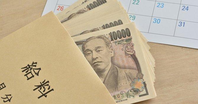 Notas de ienes em envelope perto de calendário