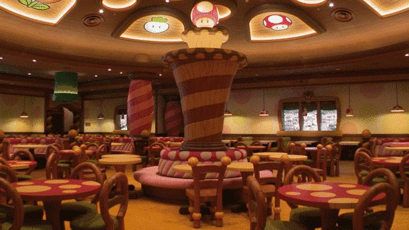 Interior restaurante Kinopio's do Super Nintendo World