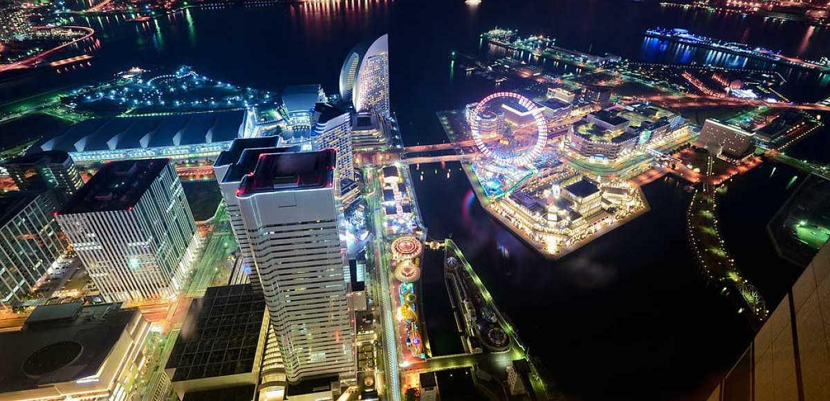 Visão aérea de Yokohama, capita da prefeitura de Kanagawa
