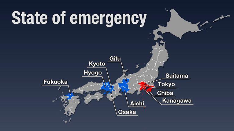 As prefeituras em azul (Fukuoka, Hyogo, Kyoto, Osaka, Aichi e Gifu) saíram do estado de emergência antecipadamente no dia 28 de fevereiro, domingo. Tokyo, Saitama, Chiba e Kanagawa adiar a saida