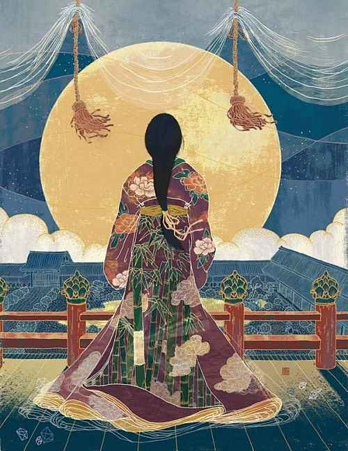 Princesa Kaguya olha para a lua