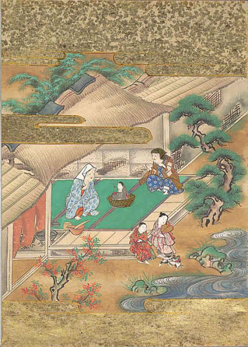 Cortador de bambu e sua esposa em com a princesa Kaguyaasa