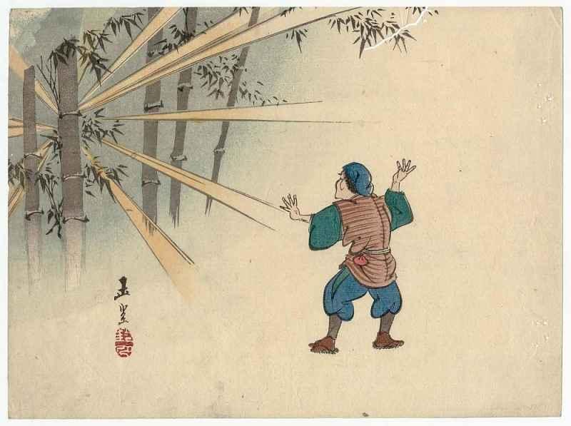 Homem vê bambu reluzente em ilustração do Conto da Princesa Kaguya
