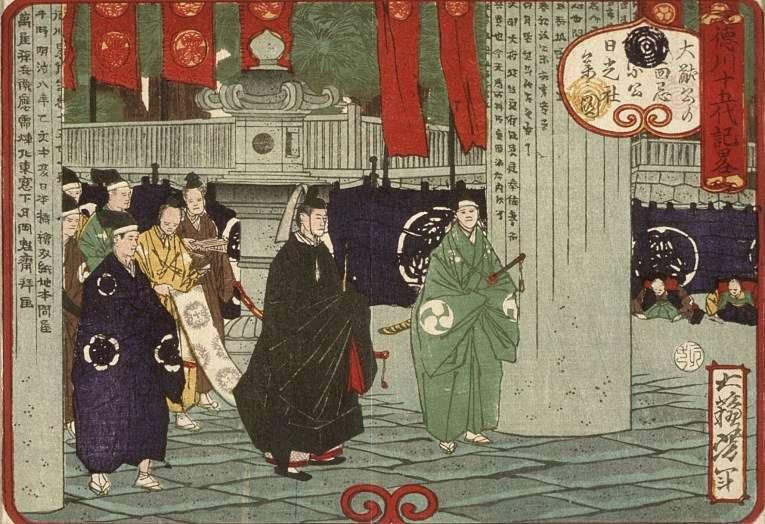 Tokugawa Tsunayoshi, 5° shogun que governou o Japão de 1680 a 1709 em uma visita ao santuário Nikkō Tōshō-gū, o mausoléu do primeiro shogun Tokugawa Ieyasu