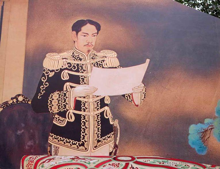 Imperador Meiji vestido com roupa militar ocidentak