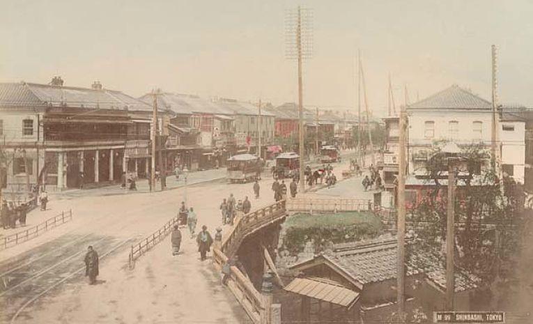 Fotografia colorizada do distrito de Shinbashi no bairro de Minato em Tokyo em 1890, dois anos após o fim do Bakufu (shogunato)