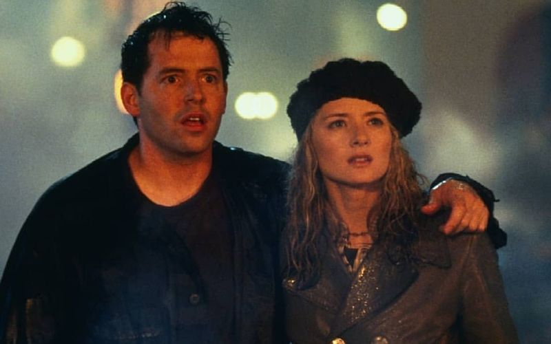 Cena do filme Godzilla de 1998. Matthew Broderick e Maria Pitillo