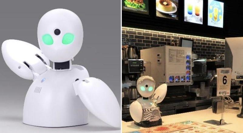 OriHime Biz no MOS Burger do Japão é robô avatar operado por distância
