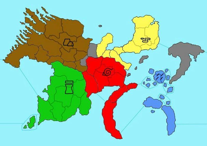 Mapa das cinco grandes nações de Naruto
