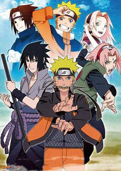 Fases pré-adolescente e adolescente de Naruto dos personagens Sasuke, Naruto e Sakura