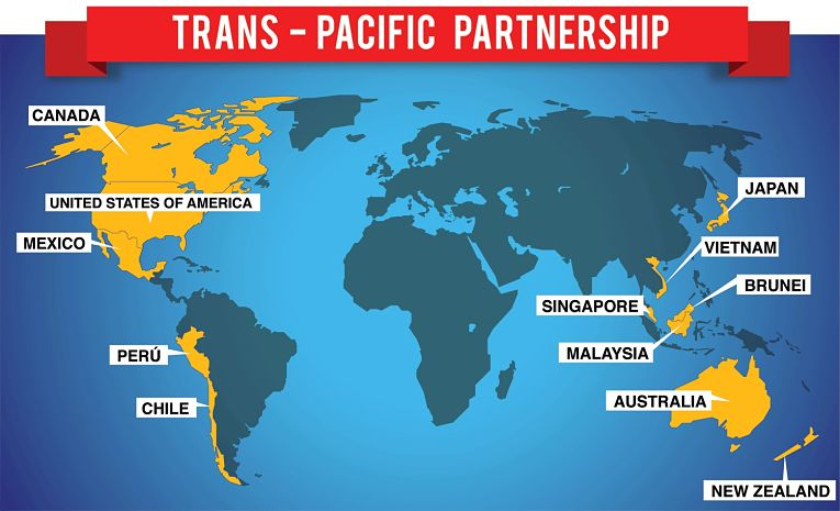 Países membros do TPP (Parceria Transpacífica).