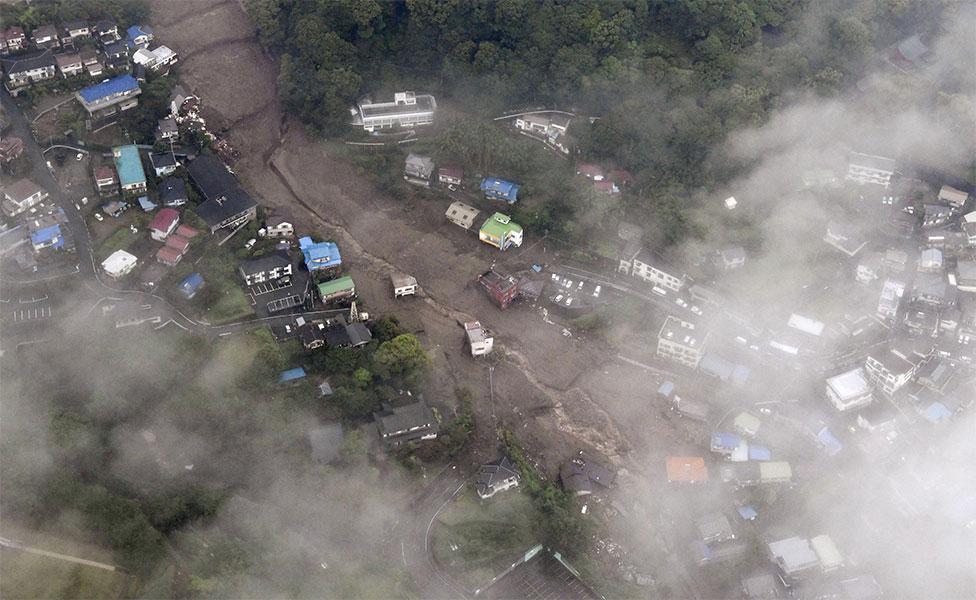 Vista aérea do deslizamento em Shizuoka