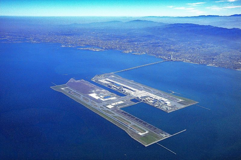 Vista aérea do aeroporto de Kansai