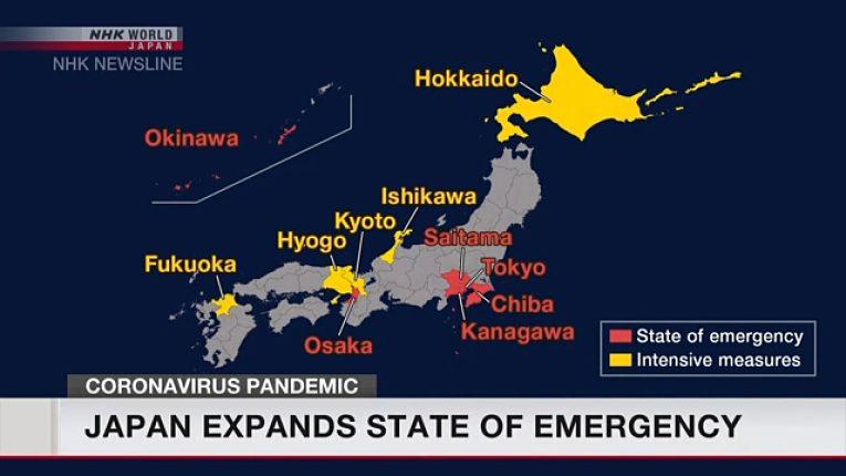 Mapa de prefeituras em estado de emergência e quase-emergência divulgada em transmissão pela emissora NHK