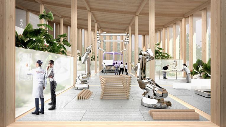 Conceito artístico do laboratório de pesquisas tecnológicas da Toyota na Woven CIty