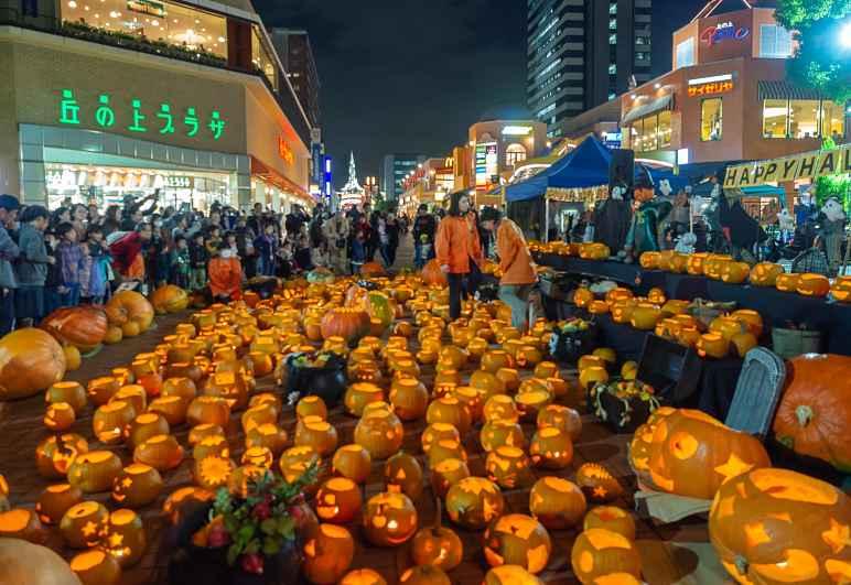 Abóboras decoradas no Halloween no Japão